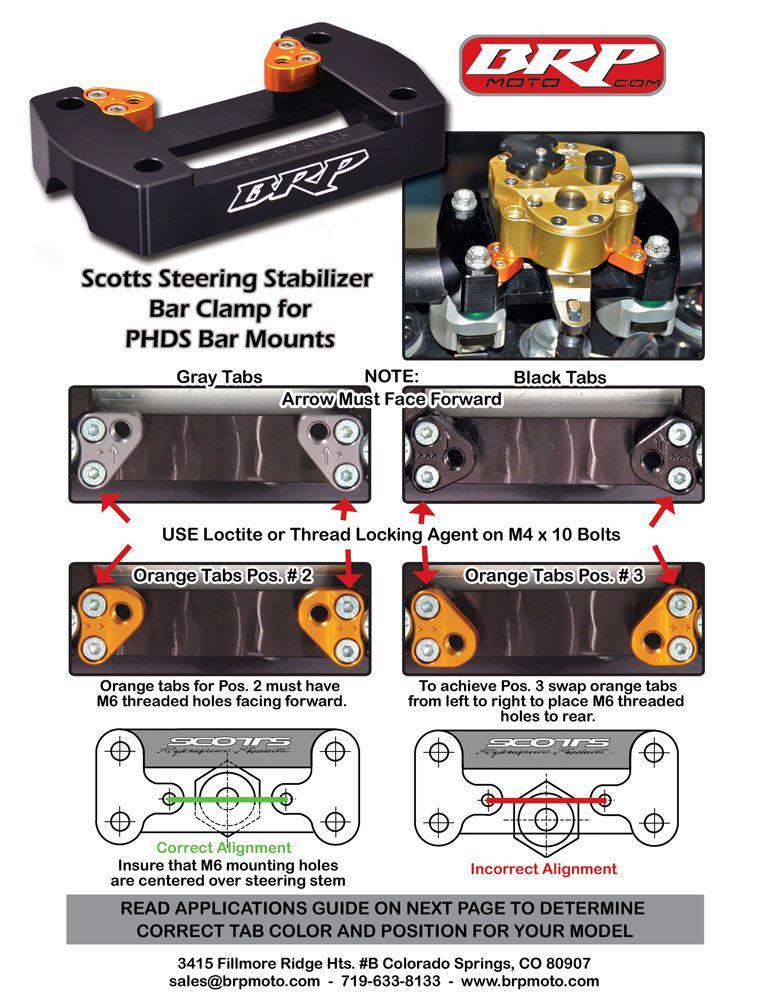 BRP Scotts Stabilizer Bar Clamp for PHDS Bar Mounts for KTM (Stock Triple Clamp)